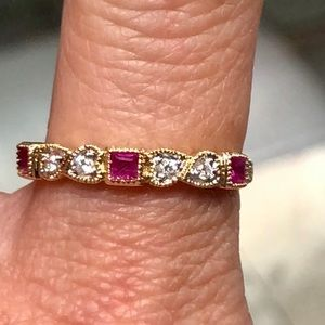 Jewelry - 10k Gold Diamond Ruby Stackable Band Ring